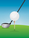 Иллюстрация шара для игры в гольф и водителя Стоковое Изображение