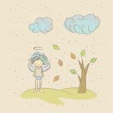 Иллюстрация шаржа ангела унылого из-за падения Стоковые Изображения