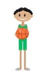 Иллюстрация шаржа африканского мальчика с баскетболом Стоковые Изображения RF