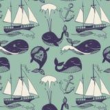 Иллюстрация шаржа вектора морская с смешным китом. Подводная жизнь. Карточка праздника бесплатная иллюстрация