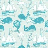Иллюстрация шаржа вектора морская с смешным китом. Подводная жизнь. иллюстрация штока