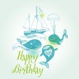 Иллюстрация шаржа вектора морская с смешным китом. Подводная жизнь. бесплатная иллюстрация