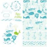 Иллюстрация шаржа вектора морская с смешным китом. Подводная жизнь. иллюстрация вектора