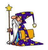 Иллюстрация шаржа волшебника волшебника иллюстрация штока