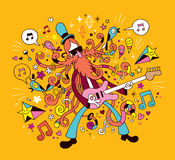 Иллюстрация шаржа гитариста утеса Стоковые Изображения