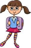 Иллюстрация шаржа девушки начальной школы Стоковые Изображения