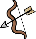 Иллюстрация шаржа искусства зажима лука и стрелы Стоковое Фото