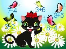 Иллюстрация шаржа математически добавления и вычитания Стоковое Изображение