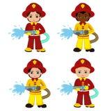 Иллюстрация шаржа мальчика пожарного Стоковое Изображение