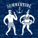 Иллюстрация шаржа моря с человеком и женщиной на каникулах Стоковые Изображения