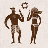 Иллюстрация шаржа моря с человеком и женщиной на каникулах Стоковые Изображения RF