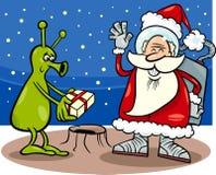 Иллюстрация шаржа Санта Клауса и чужеземца Стоковое Изображение