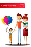 Иллюстрация шаржа семейного отдыха вектора с красочными персонажами из мультфильма семьи Стоковые Изображения RF