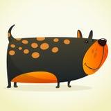 Иллюстрация шаржа симпатичного бульдога Собака вектора черная на белизне Стоковая Фотография RF