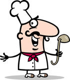 Кашевар или шеф-повар с иллюстрацией шаржа уполовника Стоковые Фотографии RF