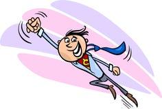 Иллюстрация шаржа супергероя бизнесмена Стоковая Фотография