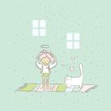 Иллюстрация шаржа с ангелом и котом Стоковые Изображения