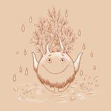 Иллюстрация шаржа с духом леса на дождливый день мифическо Стоковое Изображение RF