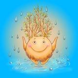 Иллюстрация шаржа с духом леса на дождливый день мифическо Стоковые Фотографии RF