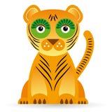 Иллюстрация шаржа тигра на белой предпосылке Стоковая Фотография RF