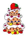 Иллюстрация шаржа торта красивого плодоовощ клубники большая иллюстрация штока