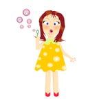 Иллюстрация шаржа пузырей дуновения девушки Стоковое Изображение