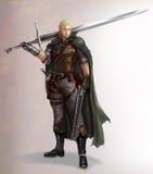 Иллюстрация шаржа характера мужского ратника фантазии с шпагой и корокоствольным оружием иллюстрация вектора