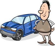 Иллюстрация шаржа человека и автомобиля Стоковое Фото