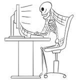 Иллюстрация шаржа человеческого скелета мертвого бизнесмена Sitti Стоковое Фото