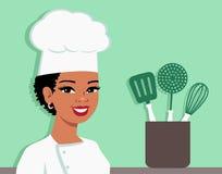 Иллюстрация шаржа шеф-повара кухни удерживания женщины Стоковые Фото