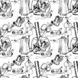 Иллюстрация шить аксессуаров на настольном компьютере картина безшовная Стоковая Фотография RF