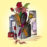 Иллюстрация шить аксессуаров на настольном компьютере Стоковые Фото