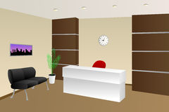 Иллюстрация шкафа стула внутреннего приема комнаты офиса бежевая Стоковые Изображения RF