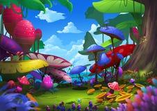 Иллюстрация: Экзотический лес с странными и красивыми вещами стоковые изображения rf