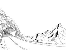 Иллюстрация эскиза ландшафта черноты графического искусства тоннеля дороги горы белая Стоковая Фотография