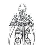 Иллюстрация эскиза вектора вручную Средневековый рыцарь в панцыре тяжелого метала и большой шпаге против белой предпосылки Стоковые Фотографии RF
