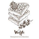 Иллюстрация эскиза вектора чертежа руки Waffle сладостная Стоковое Изображение RF