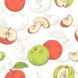 Иллюстрация эскиза картины зеленого цвета Яблока графическая красная безшовная иллюстрация штока