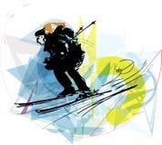 Иллюстрация эскиза катания на лыжах Стоковое Изображение RF