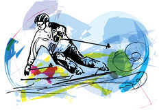 Иллюстрация эскиза катания на лыжах Стоковые Фотографии RF
