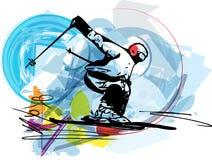 Иллюстрация эскиза катания на лыжах Стоковые Фото