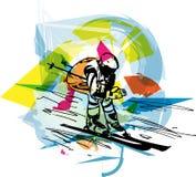 Иллюстрация эскиза катания на лыжах Стоковые Изображения RF