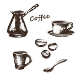 Иллюстрация эскиза на теме кофе иллюстрация штока