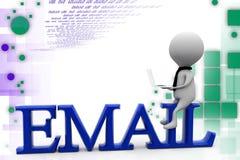 иллюстрация электронной почты человека 3d Стоковое Изображение
