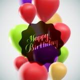 Иллюстрация ярлыка праздника с воздушными шарами летания Стоковое Фото