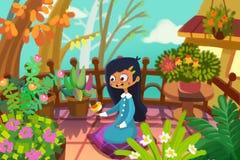 Иллюстрация для детей: Девушка и птица В ее крошечном саде на ее балконе, она встречает ее маленького друга иллюстрация штока