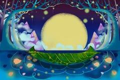 Иллюстрация для детей: Загадочное река и шлюпка бесплатная иллюстрация