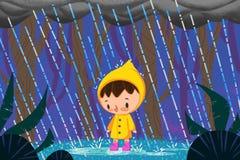 Иллюстрация для детей: Ребенок в дожде реалистическо бесплатная иллюстрация