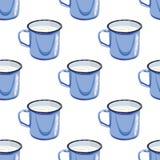 Иллюстрация для книги картина безшовная Кружка с водой молоко чашки Голубая стальная кружка Стоковые Изображения RF