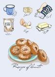 Иллюстрация для книги Рецепт donuts Ингридиенты для donuts Покрашенный рецепт Стоковое Фото